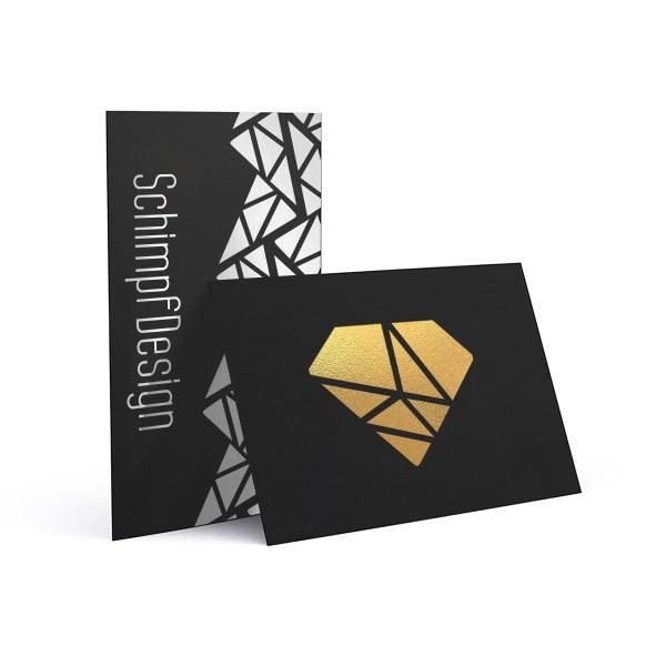 Schwarzkarton Visitenkarten 85 x 55 mm - 4/4 farbig (beidseitiger Druck)